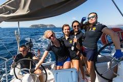 Sailors participate in sailing regatta 16th Ellada. HYDRA, GREECE - SEP 28, 2016: Sailors participate in sailing regatta 16th Ellada Autumn 2016 among Greek Royalty Free Stock Image