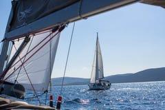 Sailors participate in sailing regatta 16th Ellada. HYDRA, GREECE - SEP 28, 2016: Sailors participate in sailing regatta 16th Ellada Autumn 2016 among Greek Stock Photography