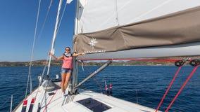 Sailors participate in sailing regatta 16th Ellada. HYDRA, GREECE - SEP 28, 2016: Sailors participate in sailing regatta 16th Ellada Autumn 2016 among Greek Stock Photos