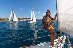 Sailors participate in sailing regatta 16th Ellada Stock Images