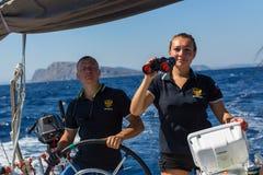 Sailors participate in sailing regatta 16th Ellada Stock Photography