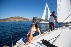 Sailors participate in sailing regatta 16th Ellada Stock Photo