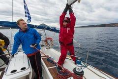 Sailors participate in sailing regatta 12th Ellada Stock Photos