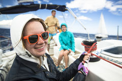 Sailors participate in sailing regatta 11th Ellada Spring 2014 among Greek island group in the Aegean Sea Stock Photography