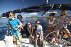 Sailors participate in sailing regatta 11th Ellada Spring 2014 among Greek island group in the Aegean Sea Stock Images