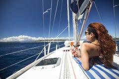 Sailors participate in sailing regatta 11th Ellada Spring 2014 among Greek island group in the Aegean Sea Stock Photos