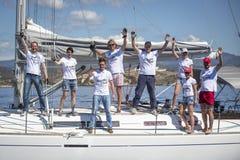 Sailors participate in sailing regatta 11th Ellada Spring 2014 among Greek island group in the Aegean Sea Royalty Free Stock Image