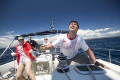 Sailors participate in sailing regatta 11th Ellada Spring 2014 among Greek island group in the Aegean Sea Royalty Free Stock Images