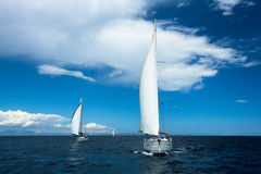 Sailors participate in sailing regatta 11th Ellada Spring 2014 among Greek island group in the Aegean Sea Royalty Free Stock Photography