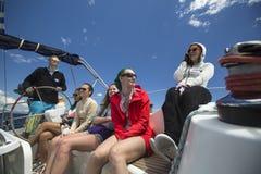 Sailors participate in sailing regatta 11th Ellada Spring 2014 among Greek island group in the Aegean Sea Stock Image