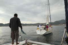 Sailors participates in sailing regatta in Turkey Stock Photo