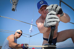 Sailors participates in sailing regatta in Turkey Stock Photography