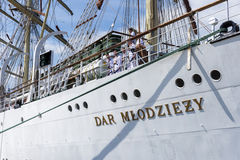 Sailors on the Polish training ship Dar Mlodziezy Royalty Free Stock Photography