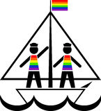 Sailors in rainbow vests Stock Photo