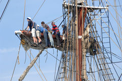 Sailors in the rigging Stock Image