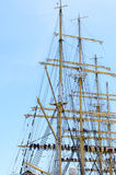 Sailors on the rigging of a tall ship Royalty Free Stock Images