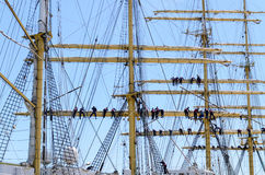 Sailors on the rigging of a tall ship Stock Images