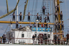 Sailors in the riggings royalty free stock images