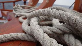 Sailors rope. Huge rope lying on shipboard Stock Images