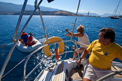 Sailors in sailing regatta Viva Greece 2012 Royalty Free Stock Images