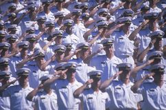 Sailors Saluting. At Naval Academy Graduation Ceremony, May 26, 1999, Annapolis, Maryland Stock Photo