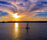 Sailors. San Diego Bay at Sunset Royalty Free Stock Image