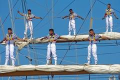 Sailors stand on sailyards royalty free stock photos