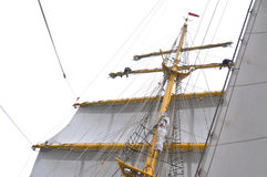 Sailors in traditional sail rig Stock Photography