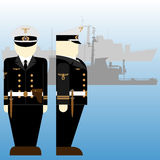 Sailors of the Wehrmacht during the Second World War. German sailors and ships in World War II. The illustration on a white background Royalty Free Stock Image