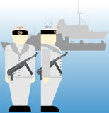 Sailors of the Wehrmacht during the Second World War-2. German sailors and ships in World War II. The illustration on a white background Royalty Free Stock Photo