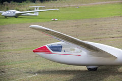 Sailplane on an airfield Stock Images