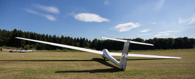 Sailplane on an airfield Royalty Free Stock Photos