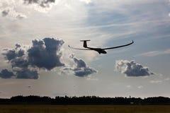 Sailplane on final glide. Europe soaring championship in Pociunai near Kaunas, Lithuania Royalty Free Stock Photos