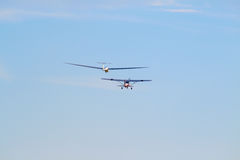 Sailplane. A sailplane in front of a blue sky glides through the air without its own motor drive Stock Images