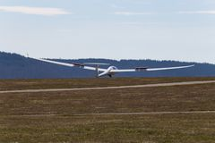 Sailplane glider on south germany airfield. With green grass and blue sky sunny easter springtime day Stock Photography