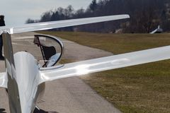 Sailplane glider on south germany airfield. With green grass and blue sky sunny easter springtime day Royalty Free Stock Photos