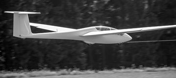 Sailplane with towing rope starting on an airfield black and whi Royalty Free Stock Photos