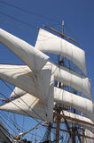 Sails. White billowing sails from a vintage tall ship stock photo