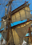 Sails. On a wooden sailing boat royalty free stock photos