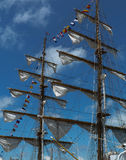 Sails. On a wooden sailing boat stock photos