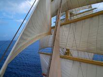 Sails. On the masts of the tall ship Stock Images