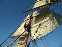 Sails. From a replica of a late 1700's sailing ship Royalty Free Stock Image