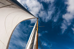 Sails against blue sky. Headsail and genoa against blue sky Stock Images