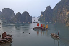 Sails boats in Ha Long bay stock image