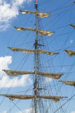 Sails Furled on Fore Mast. Of Schooner Royalty Free Stock Photo