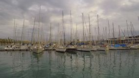 Sails in the harbor stock footage