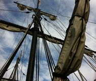 Sails on mast  Royalty Free Stock Image