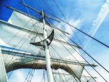 Free Sails, Mast And Ropes View From Below Of A Classic Sailing Ship. Royalty Free Stock Images - 110276539