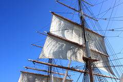 Sails and masts. Sails, mast with background of sky stock image