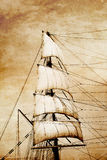 Sails on old paper. Tall ship sails in the wind, stylized for pen and ink drawing on a old paper background vector illustration